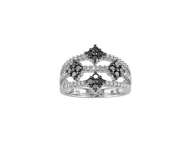 10k White Gold  Black and White Diamond Ring