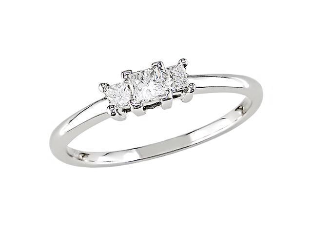 10K White Gold 1/4 Carat Diamond Three-Stone Diamond Ring