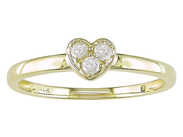 10K Yellow Gold 1/10 ctw Diamond Heart Ring