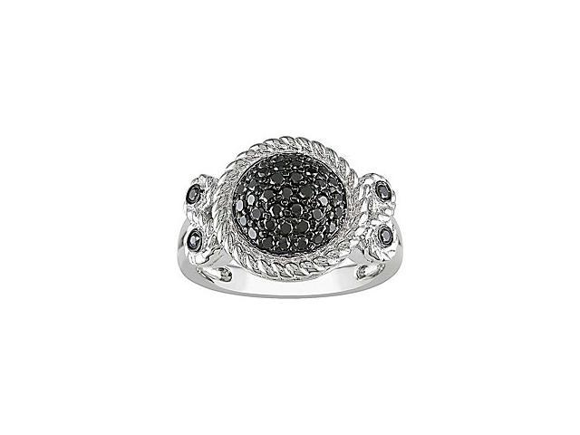 1/2 Carat Black Diamond Ring w/ Sterling Silver and Black Rhodium