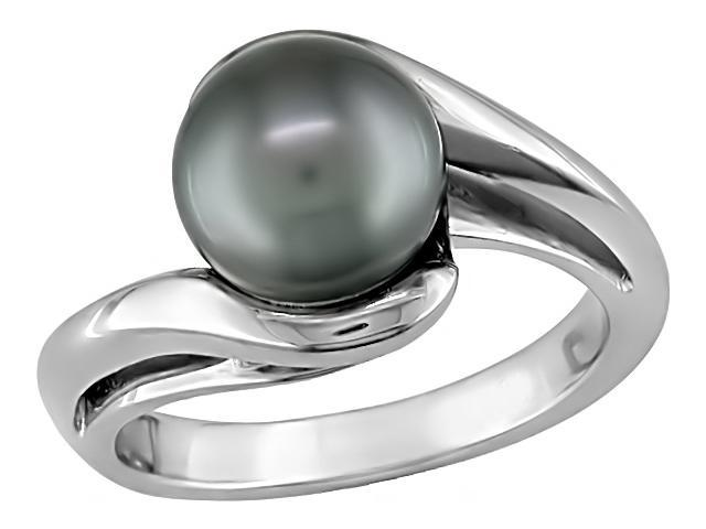 10K White Gold Black Pearl Tahitian Ring