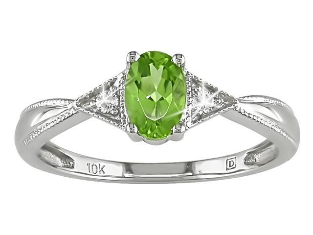 Peridot and Diamond Accent Ring in 10k White Gold