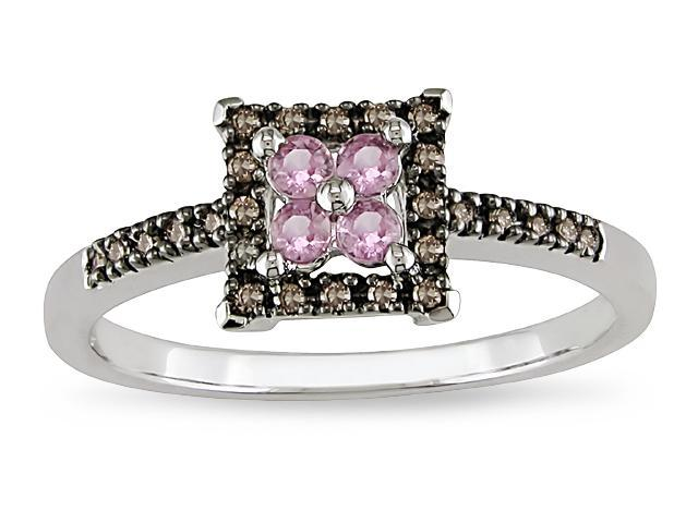 10k 1/10ct Brown Diamond and Pink Sapphire Ring
