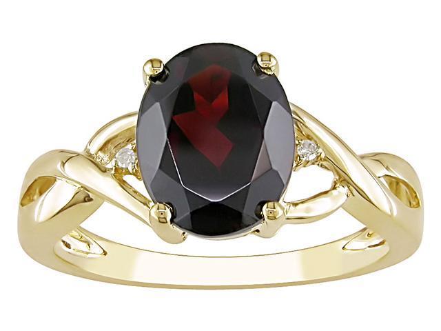 10K Yellow Gold 2 1/2 Carat Garnet and Diamond Ring