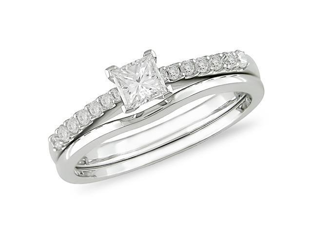 14k White Gold 1/2 ctw Princess Cut Diamond Engagement Ring & Wedding Band Set