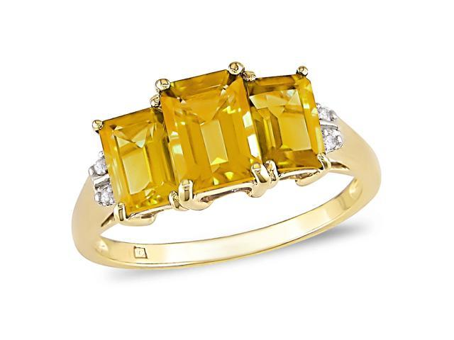 10K Yellow Gold .02 Diamond and Citrine Ring I-J,I2-I3
