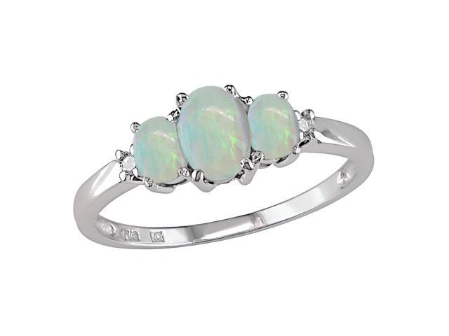 Opal and Diamond Accent Three-stone Ring in 10k White Gold