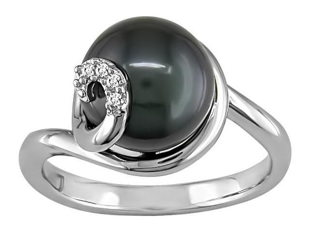 9-10mm Tahitian Pearl and Diamond Accent Ring in Silver, I-J, I2-I3
