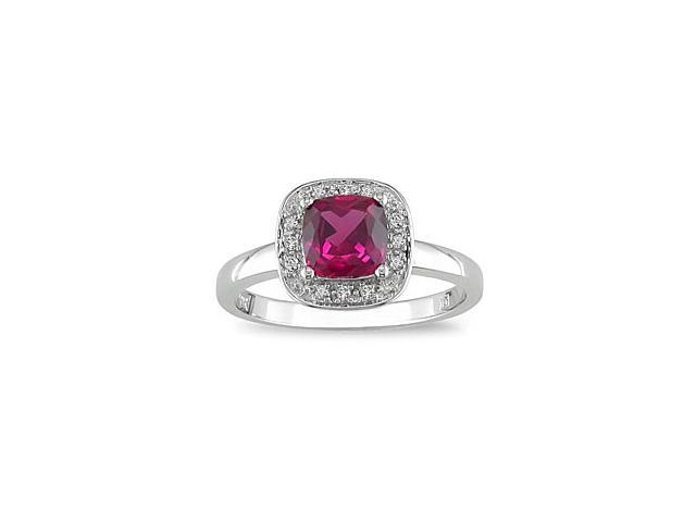 Created Ruby and Diamond Accent Ring in 10k White Gold