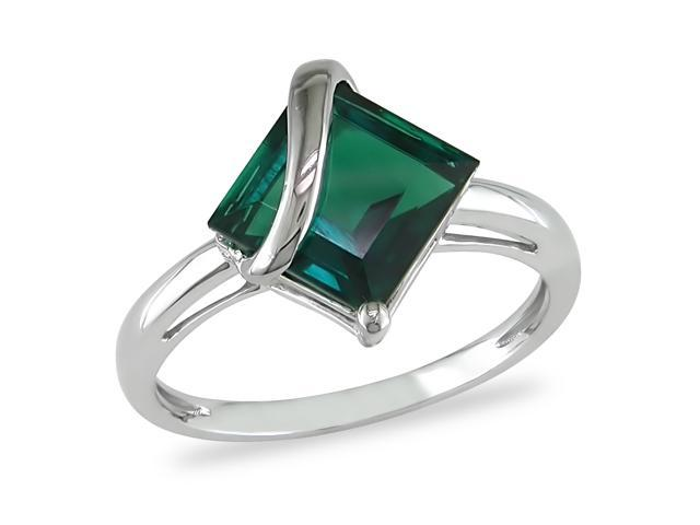 2.5 ct.t.w. Created Emerald Ring in 10k White Gold