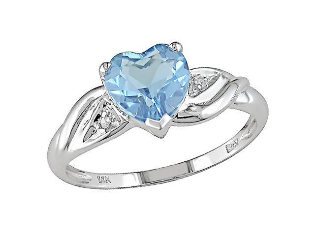 10K White Gold .01 ctw Diamond and Blue Topaz Heart Ring