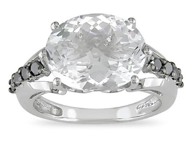 10k White Gold 1/4 Carat Black Diamond and 5 1/2 Carat White Topaz Ring