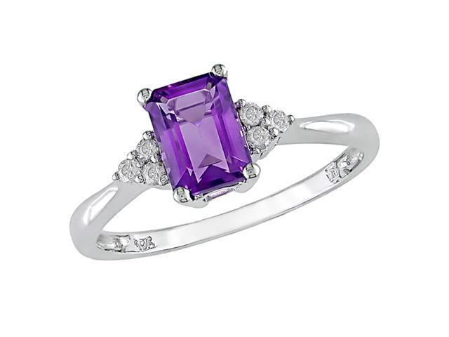 10K White Gold 1/10 Carat Diamond and Amethyst Ring