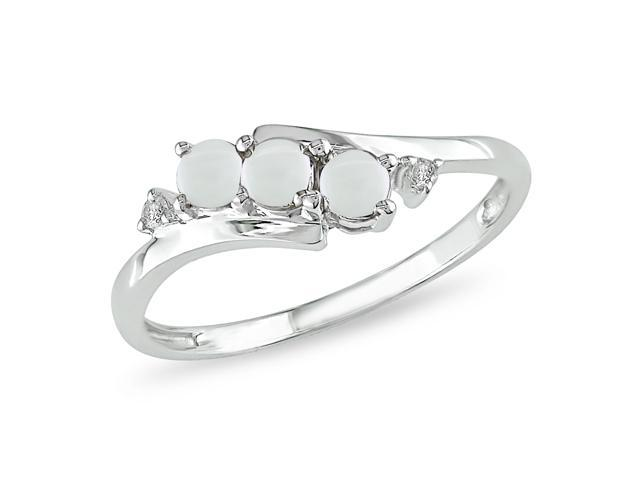 1/5 ct.t.w. Opal and Diamond Accent Ring in 10k White Gold, I2-I3, G-H-I
