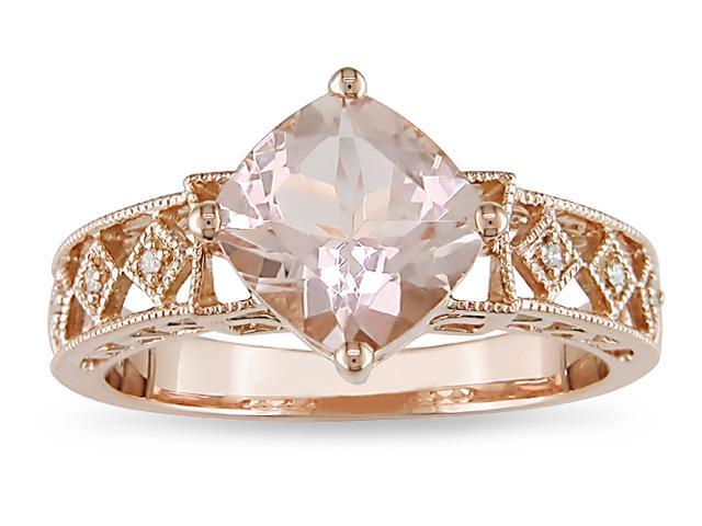 10k Pink Gold .02ct TDW Diamond and Morganite Ring