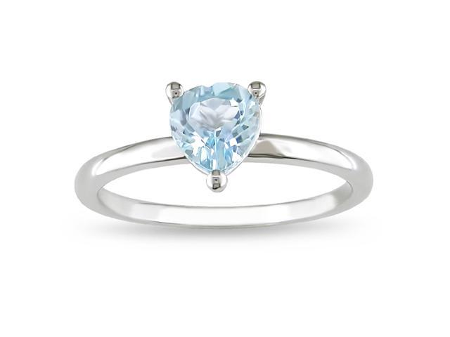Sterling Silver Blue Topaz Fashion Heart Ring