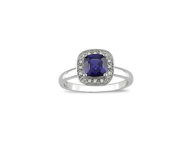 Created Sapphire and Diamond Accent Ring in 10k White Gold