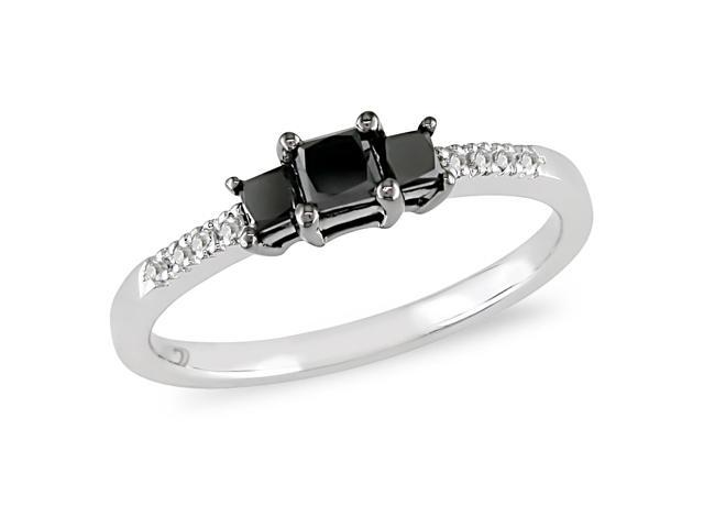 1/2 ct.t.w. Black and White Diamond Ring in 10k White Gold, I2-I3, G-H-I