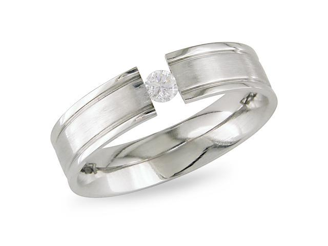 Stainless steel Ring with 3.5mm RD C.Z.