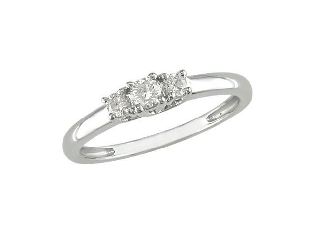 14K White Gold 1/4 Carat Diamond 3-Stone Enngagement Ring - IGL Certified