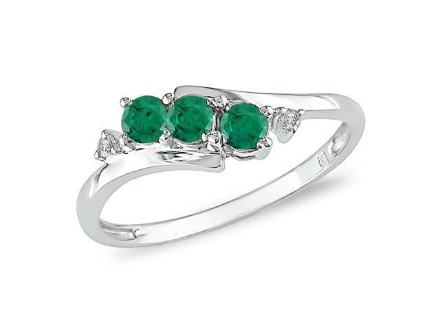 10K White Gold .018 ctw Diamond and Created Emerald Ring, I-J,I2-I3