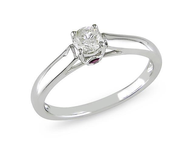 14k Gold 1/4ct TDW Diamond and Sapphire Engagement Ring (H-I, I2-I3)