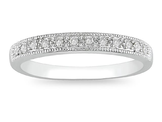 10k White Gold 1/10ct TDW Diamond Wedding Ring
