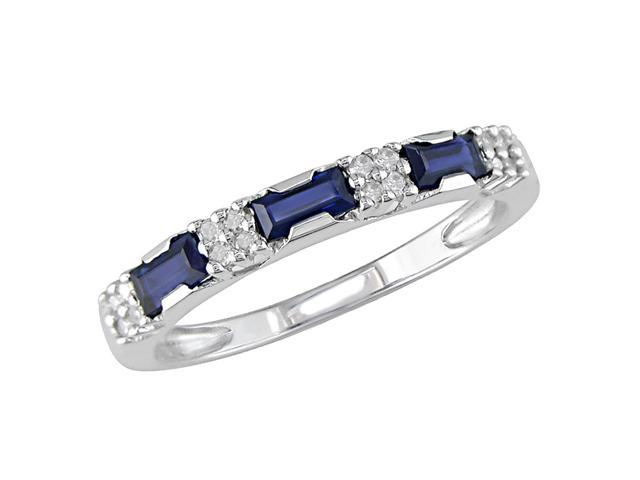 10K White Gold .07 ctw Diamond and Sapphire Ring