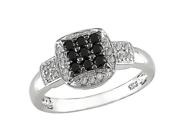 14K White Gold 1/3 ctw Black and White Diamond Ring