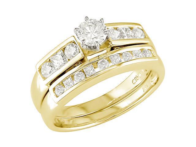 14K Yellow Gold 1 ctw Diamond Wedding Ring Set