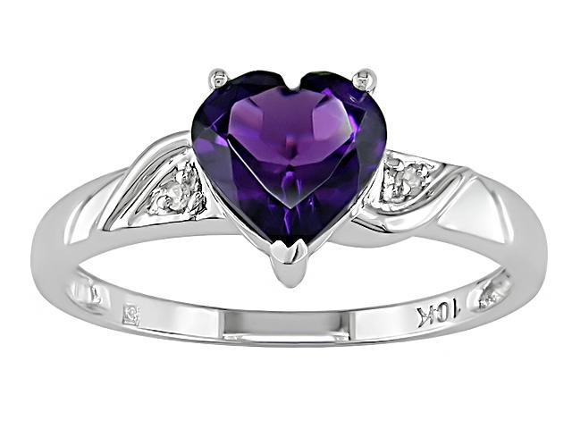10K White Gold .01 ctw Diamond and Amethyst Heart Ring
