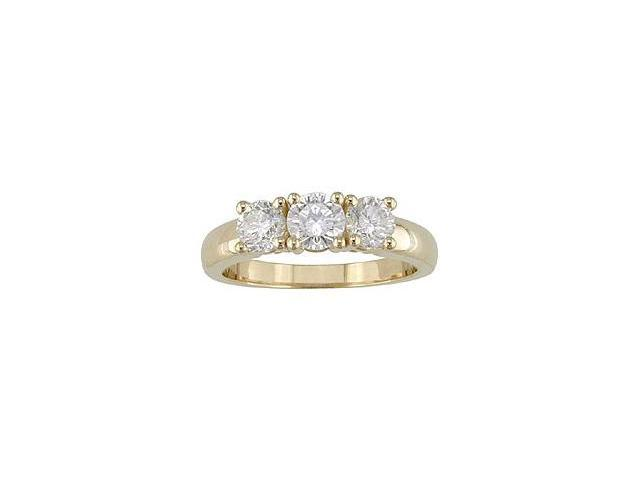 14k Gold 1ct TDW Round Diamond 3-stone Ring (H-I, I1-I2)