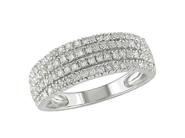 10K White Gold 3/8 Carat Diamond Four-Row Ring