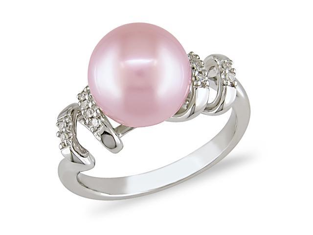 9-9.5 mm Pink Freshwater Pearl and Diamond Accent Ring in Silver, I3