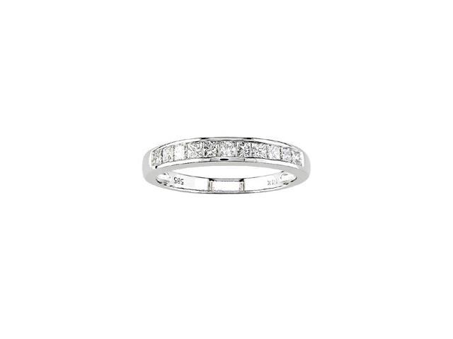 14k White Gold 1/2ct Princess Diamond Anniversary Band (H-I, I1)