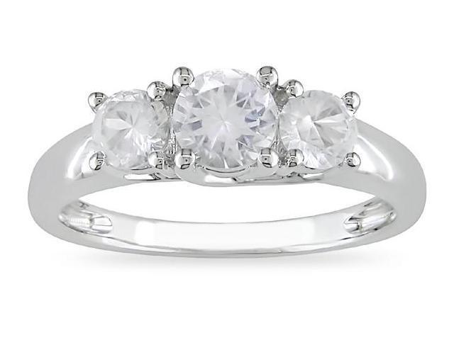 10k White Gold 1 1/3 Carat Round Created White Sapphire Three Stone Engagement Ring