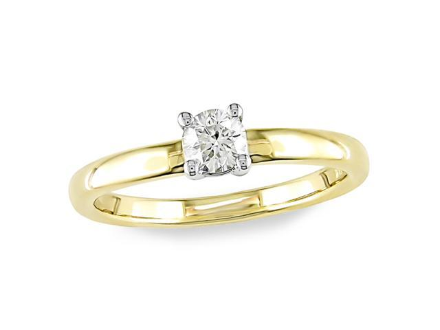 14K Yellow Gold 1/3 ctw Diamond Solitaire Ring