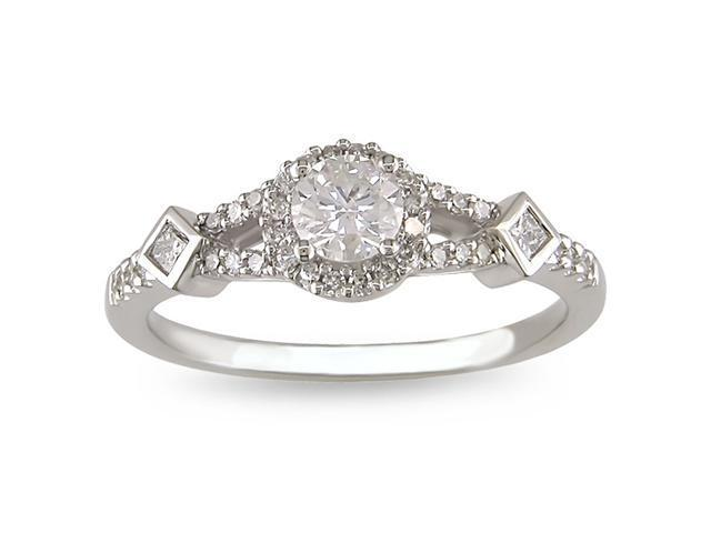 14k White Gold 1/2ct TDW Diamond Engagement Ring (G-H, I1-I2)