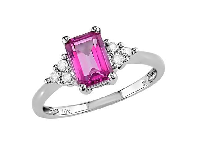 10K White Gold 1/10 Carat Diamond and 1 Carat Pink Topaz Ring