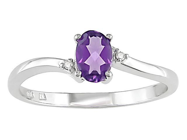 Oval Amethyst and Diamond Accent Ring in 10k White Gold