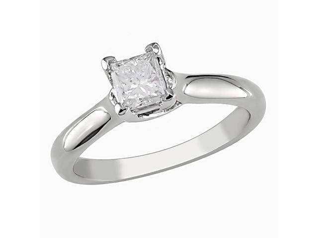 14KW 1/2ctw princess cut diamond ring, G-H I1-I2