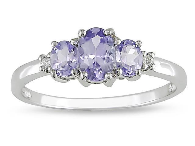 10k  3/4ct TGW Tanzanite and .02ct Diamond Ring