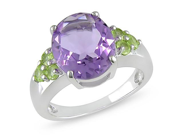 4 Carat Amethyst and Peridot Ring w/ Sterling Silver