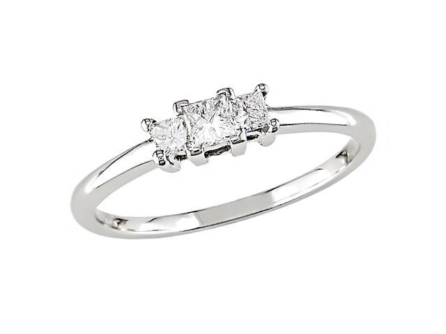 10K White Gold 1/4 Carat Diamond Three-Stone Diamond Ring
