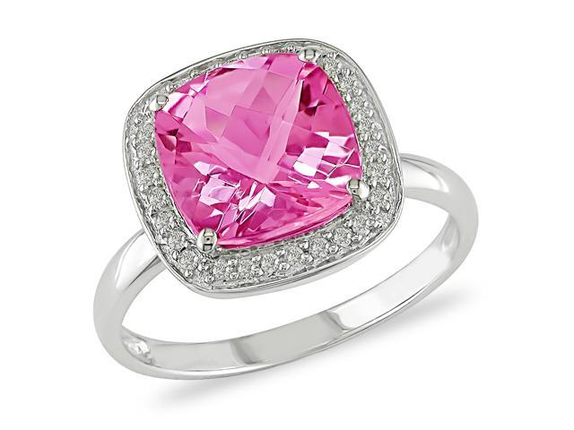 3-1/2 ct.t.w. Pink Topaz and 1/10 ct.t.w. Diamond Ring in 10k White Gold, G-H-I