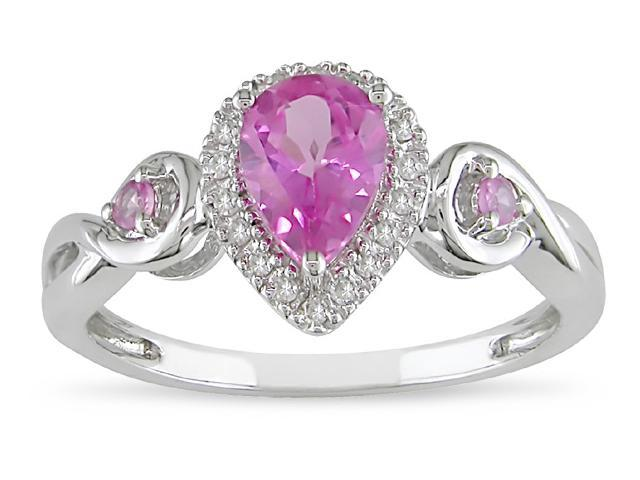 10k Gold Created Pink Sapphire Ring
