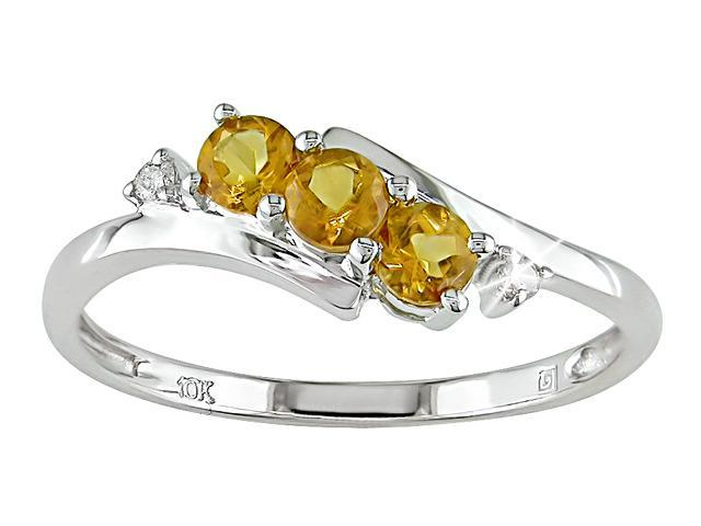 10K White Gold .018 ctw Diamond and Citrine Ring