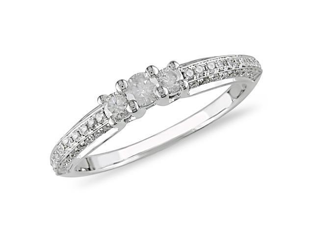 1/2 ct.t.w. Three-Stone Diamond Ring in 10k White Gold, I2-I3, G-H-I