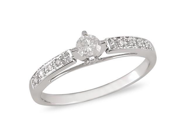 1/4 ct.t.w. Diamond Engagement Ring in 10k White Gold, I2-I3, G-H-I