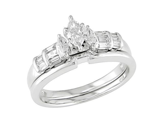 14K White Gold 1/2 ctw Diamond Wedding Ring Set